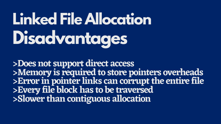 Linked file allocation disadvantages