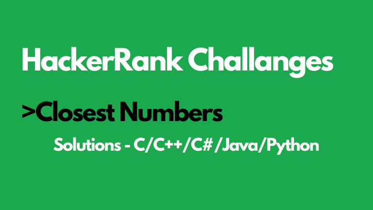 Closest Numbers Hackerrank Solution