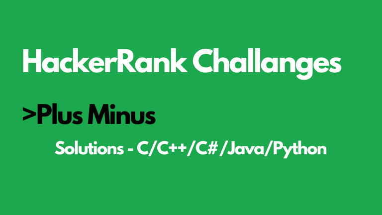 Plus Minus HackerRank Solution