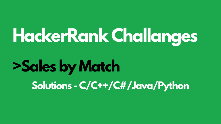 Sales by Match HackerRank Solution