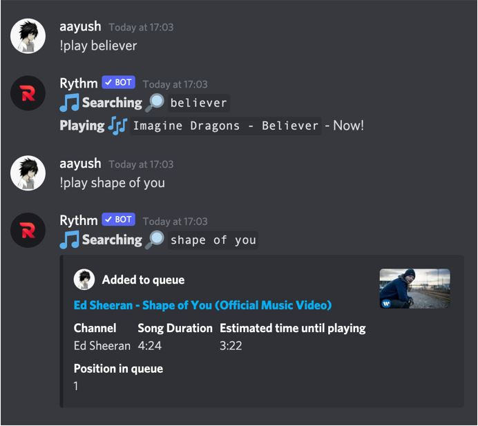 Add songs to the queue in rythm bot